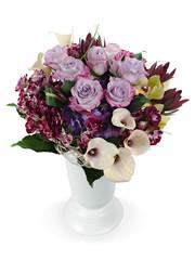 colorful floral bouquet of roses, lilies and orchids arrangement