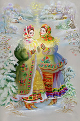 Young girls in traditional costume