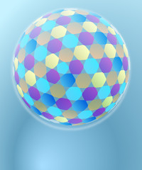 hexagonal disco sphere geometry decoration card vector template