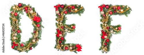 Christmas alphabet letters, isolated on white background
