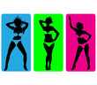 Female strip bikini silhouettes.Vector