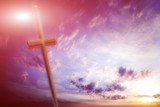 scene old cross and celestial landscape as religious background poster