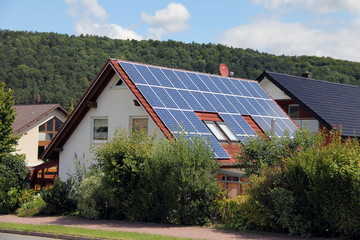 Domestic solar panels  on roof of the house