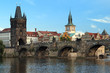 Charles Bridge in Prague at the end of a summer day