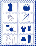 Sewing and Tailoring Icons, needlework, quilting, diy projects poster