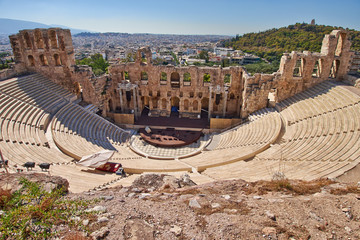 ancient theatre under Acropolis of Athens, Greece