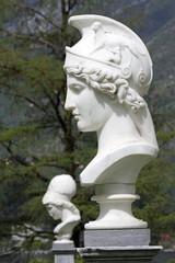 Bust of Athena in italian garden of Villa Melzi in Bellagio