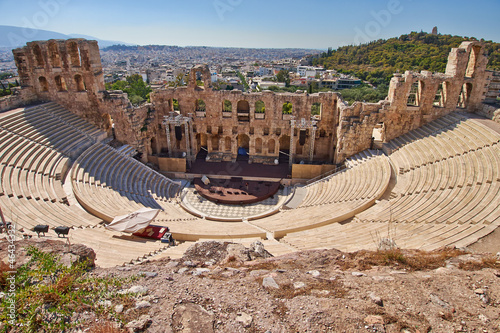 Plexiglas Athene ancient theatre under Acropolis of Athens, Greece