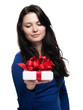 Young lady is touched by her gift - isolated