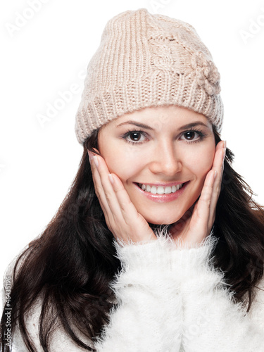 Pretty young woman with  hat - isolated