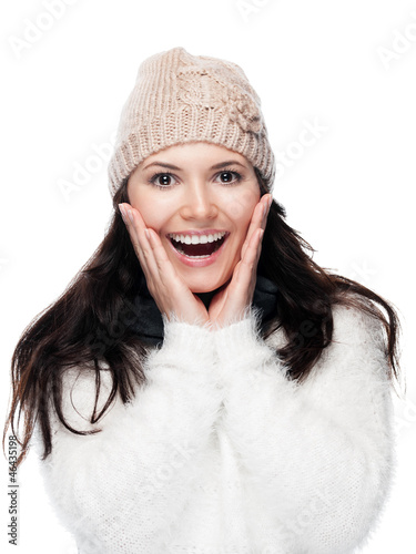 Young woman screaming - isolated