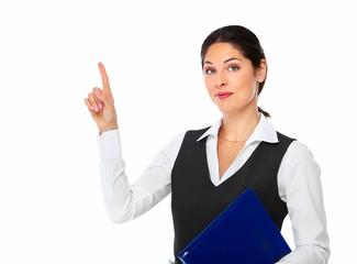 Business woman showing a copyspace.