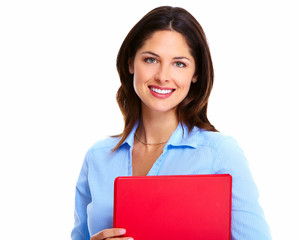 Business woman with red folder.