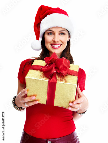Christmas santa woman with gift.