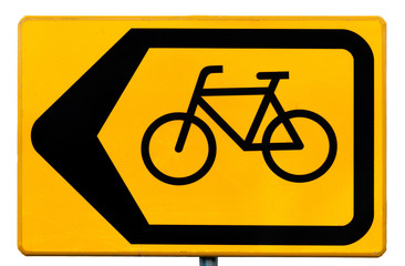 Road sign for cyclists indicating a traffic diversion