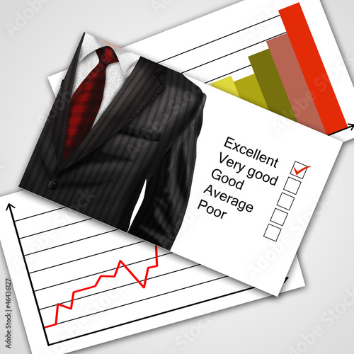 Closeup businessman suit with documents on background