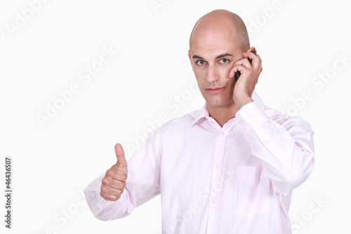 Bald businessman closing an important deal