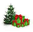 Geschenke mit Weihnachtsbaum
