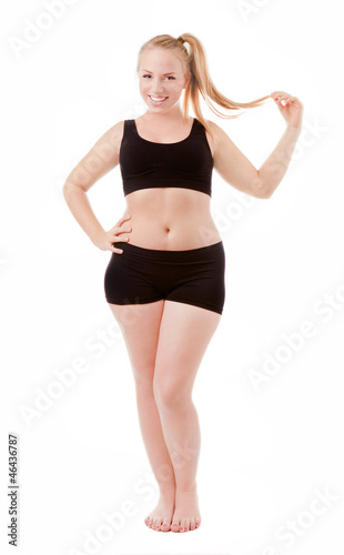 Size 40 woman isolated over white background