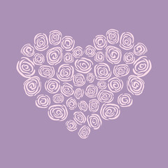 heart made of roses vector eps8