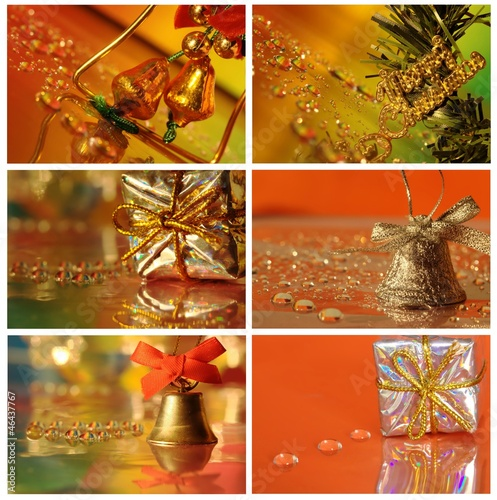Christmas collage with silver gift, bell