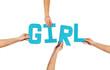 Turquoise alphabet lettering spelling GIRL