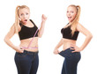 Before and after a diet, girl surprised by measuring waist