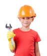 Cute baby in orange protective helmet