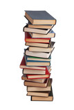 High stack of different books