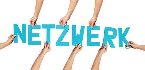 Turquoise alphabet lettering spelling NETZWERK