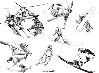winter sports collection - skiers and snowboarders