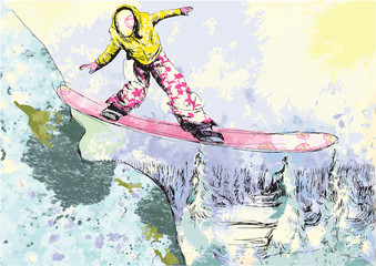snowboarder - hand drawing © kuco
