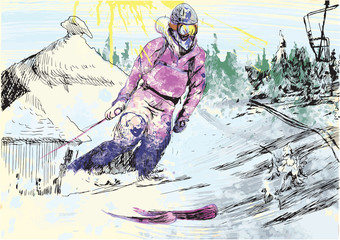 skier - hand drawing
