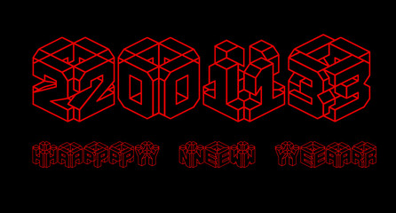 3D happy new year