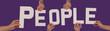 White alphabet lettering spelling PEOPLE