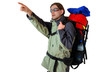 Hiker with tourist backpack is pointing on something - isolated