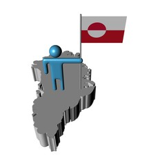 Abstract person with flag on Greenland map illustration