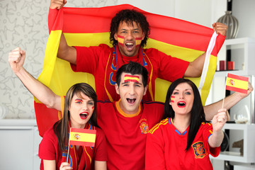 Young people supporting Spain