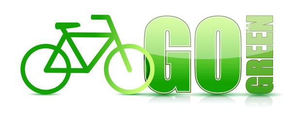 go green bike sign illustration design