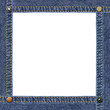 Empty frame made of blue denimand metal jeans rivets