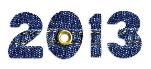 The New Year 2013 - blue jeans fonts, isolated