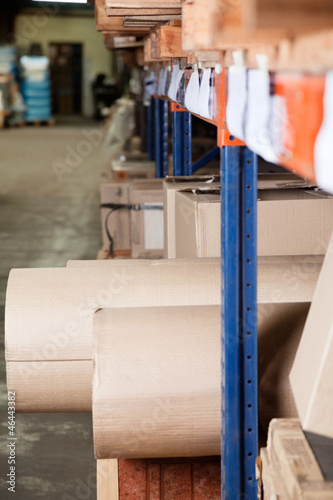 Cardboard Rolls And Boxes Stored In Warehouse