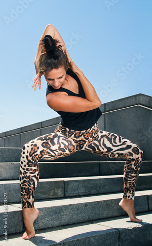 Young Woman Practicing Contemporary Dance Excercise on Stairs