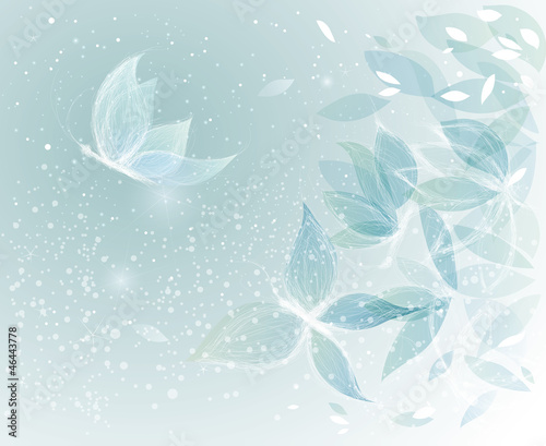 Winter Leaves like Snow Butterflies / Surreal sketch