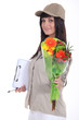 Woman delivering bouquet of flowers