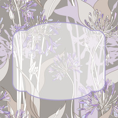 Graphic background with violet graphic flowers and frame.