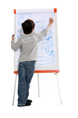 Child drawing on a flipchart
