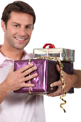 Man holding gifts