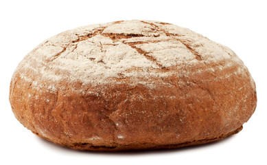 A loaf of bread dusted with flour isolated on white background