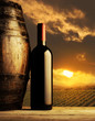 red wine bottle at sunset